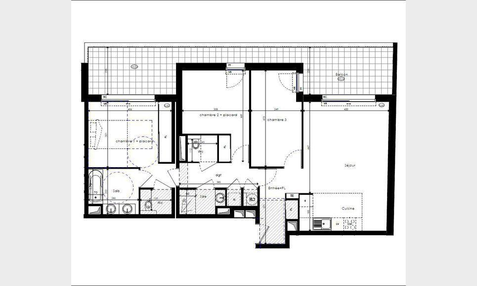Appartement T4 87m2 avec terrasse 25m2 et parking Luynes : Photo 1