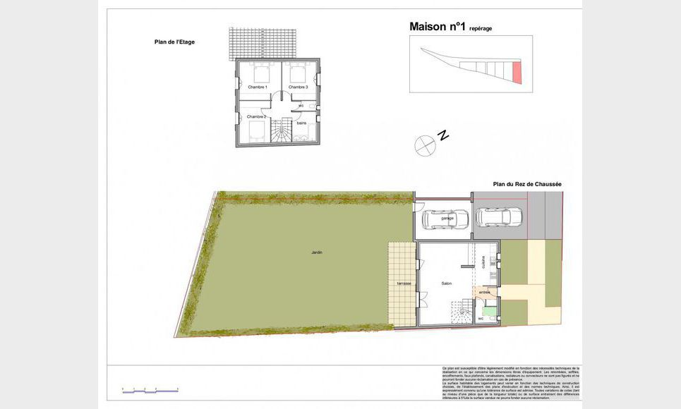 Villa T4 92,77m2 avec garage - Terrain 364,87m2 : Photo 1